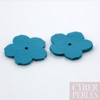 Fleur à riveter en cuir 25 mm - turquoise