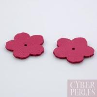 Fleur à riveter en cuir 25 mm - rose