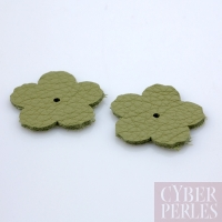 Fleur à riveter en cuir 25 mm - vert