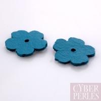 Fleur à riveter en cuir 18 mm - turquoise