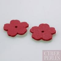 Fleur à riveter en cuir 18 mm - rouge