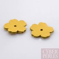 Fleur à riveter en cuir 18 mm - jaune