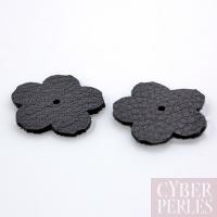 Fleur à riveter en cuir 18 mm - noir