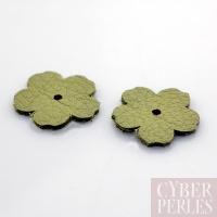 Fleur à riveter en cuir 18 mm - vert