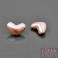 Perle coeur en vermeil rose brossé