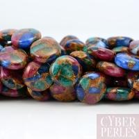 Perle disque en quartz éponge teinté
