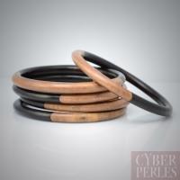 Bracelet rigide en ébène camagong bicolore