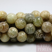 Perle ronde gravée en jade Xiu - 12 mm