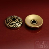 Perle caps dorée - motif spirales 11 mm