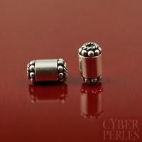 Perle en argent - tube cylindre