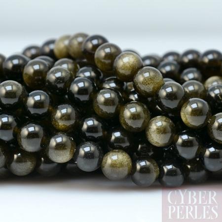 Perles obsidienne rainbow dor e 4 mm sp1259 cyberperles for Miroir obsidienne