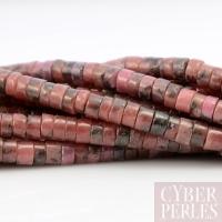 Perles rondelles rhodonite veine noire