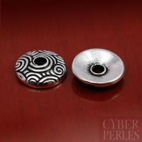 Perle caps argentée motifs spirales 11 mm