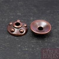 Perle caps cuivrée - motif rivets 11 mm