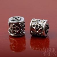 Perle de Bali en argent 925/1000 - cylindre