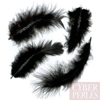 Plumes de cou de coq teintées - noir