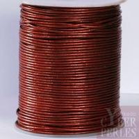 Lacet de cuir - marron métallisé