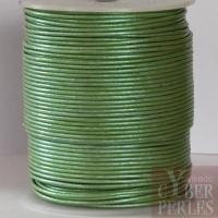 Cordon de cuir - vert amande métallisé