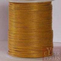Cordon de cuir - jaune doré métallisé