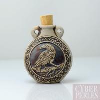 Pendentif-fiole en céramique - corbeau