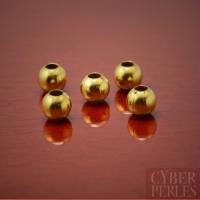 Perles rondes en laiton non plaqué 5 mm
