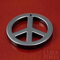 Pendentif peace and love en hématite - 35 mm