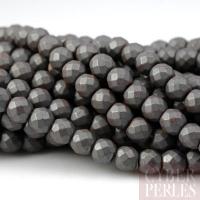 Perles rondes en hématite facettée mate - 4 mm