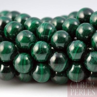 Perle ronde en malachite - 8 mm