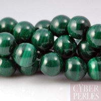 Perle ronde en malachite -10 mm