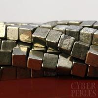 Perles cubes en pyrite 3 mm