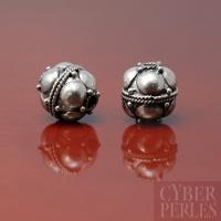 Perle ronde de Bali en argent 925